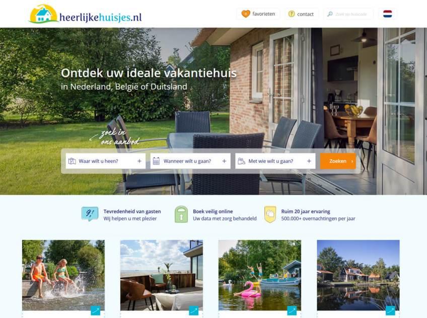 De website van Heerlijkehuisjes om vakantiehuizen te huren