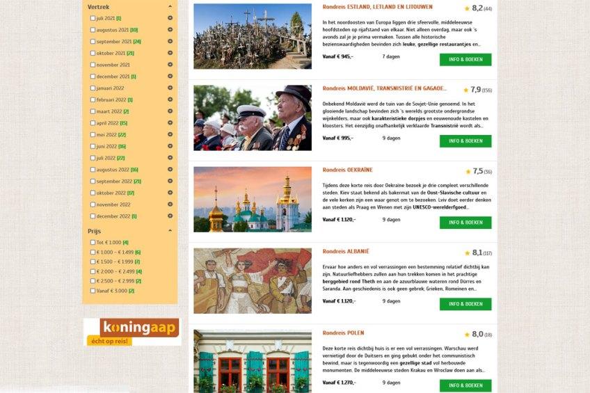 De website van Koning Aap voor het boeken van groepsrondreizen binnen Europa