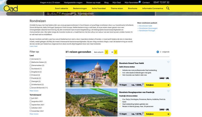 De website van OAD voor het boeken van groepsrondreizen binnen Europa