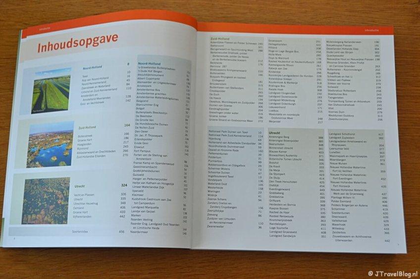 De inhoudsopgave van het boek 'De mooiste fotolocaties van West-Nederland'