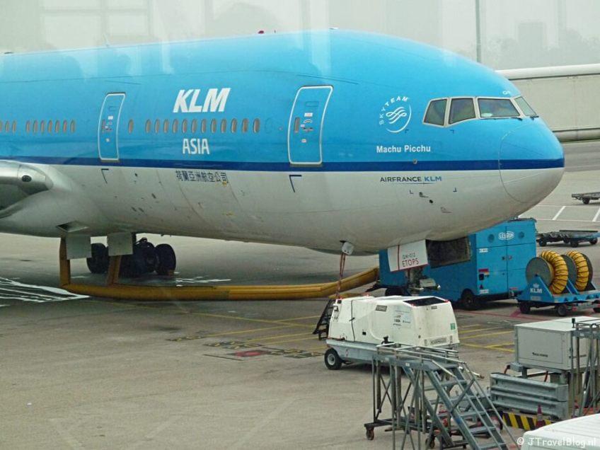 KLM vliegtuig naar Kaapstad