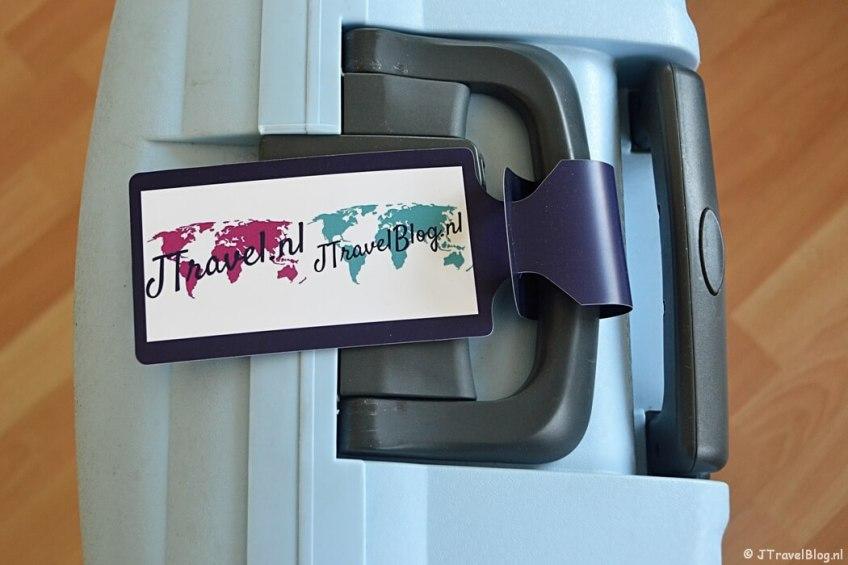 Mijn koffer met mijn gepersonaliseerde bagagelabel van Fotofabriek.nl