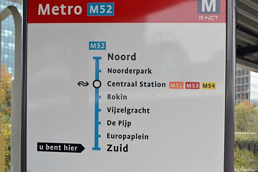 De route van de Noord-Zuidlijn in Amsterdam van zuid naar noord
