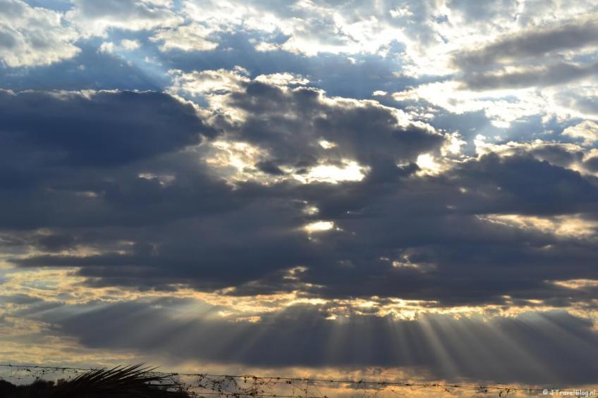 Zonsopkomst in Khorixas in Namibië, oktober 2014