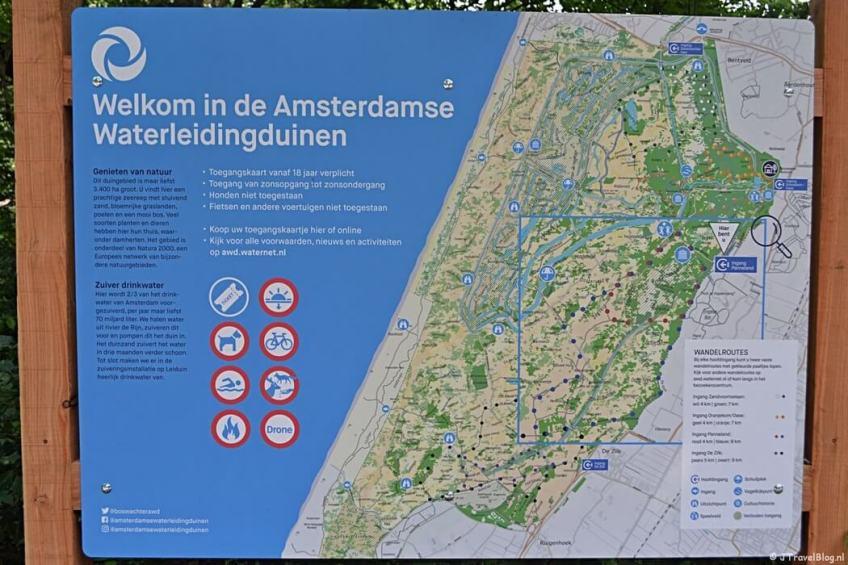 De kaart van de Amsterdamse Waterleidingduinen