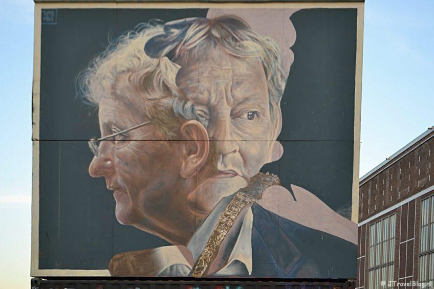 Streetart van wijlen burgemeester Eberhard van der Laan op de NDSM werf in Amsterdam Noord