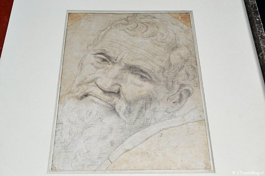 Een tekening van Michelangelo in de Eerste Schilderijenzaal van het Teylers Museum in Haarlem