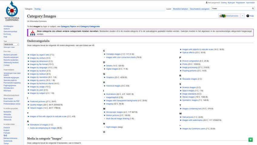 Wikimedia Commons: een website met gratis afbeeldingen