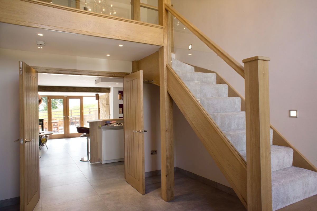 Oak And Glass Staircases Jtsstaircases | Cost Of Glass Balustrade Stairs | Wood | Side Clamp | Steel Bracket | Spiral Staircase | Stainless Steel