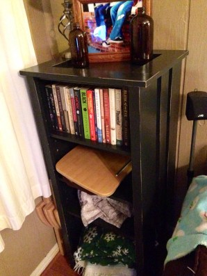 used as a bookshelf (right)