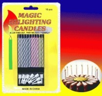 HARGA DI ATAS UNTUK 1 SET = 10 PCS Magic Candle yang bisa menyala lagi setelah ditiup.. Jadi apinya tidak padam.. Lucu buat ngerjain yang lagi ulang tahun, DIJAMIN GA BAKALAN BISA MAKE A WISH DEH..wkkkakk.. ( ^ , ^ ) V Lilin Magic lucu yang ketika ditiup mati, beberapa saat kemudian akan menyala kembali. 1 paket isi 10 lilin bisa digunakan bersamaan ataupun terpisah