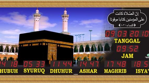 Jual jam jadwal sholat digital masjid murah di tambun timur