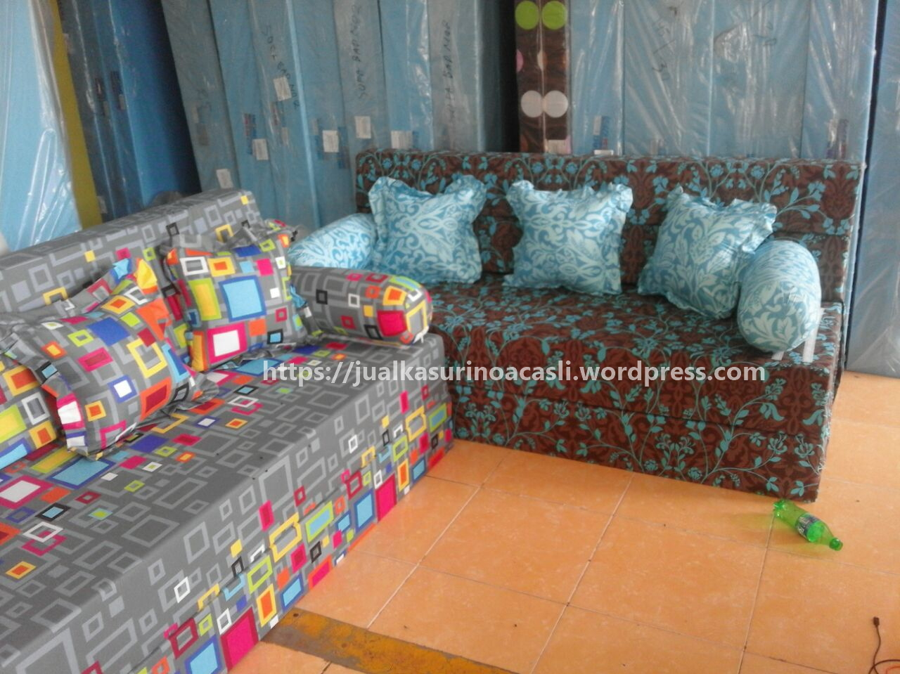 harga cover sofa bed inoac for armless motif erin sofabed kasur busa asli 087777172247 fast respon wa chat 0877 7717 2247