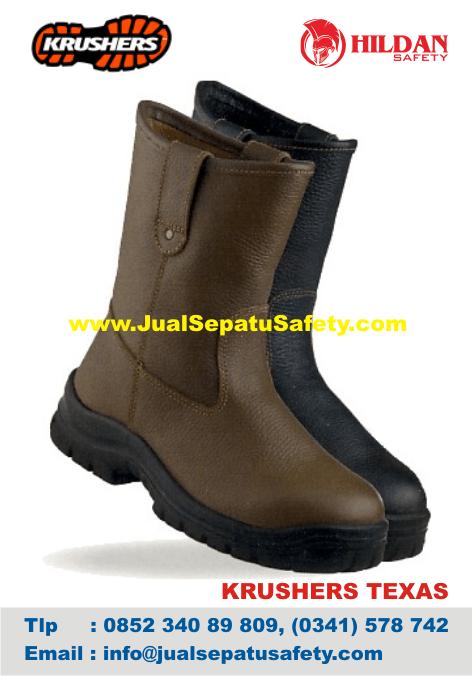 Sepatu BOOTS PRIA Safety Krushers TEXAS Bahan KULIT Coklat Hitam