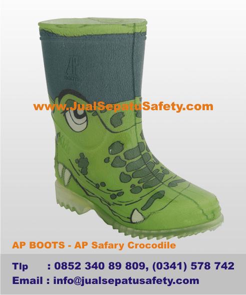 Gambar Sepatu AP BOOTS Anak - AP Safary Crocodile Motif Buaya HIJAU