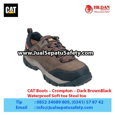CAT Boots – Crompton – Dark BrownBlack – Waterproof Soft toe Steel toe