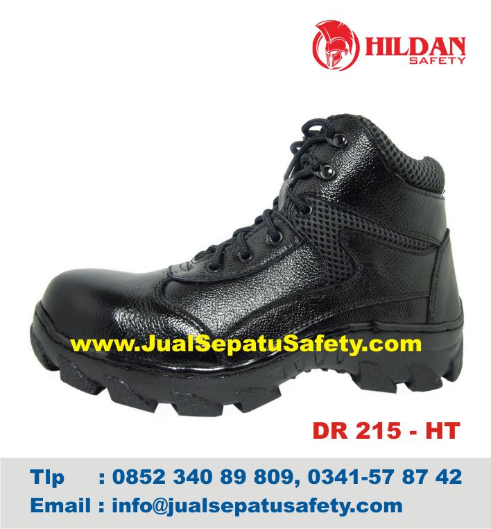 DR 215 HT - Sepatu GUNUNG MURAH Produk LOKAL Safety Kulit ASLI Hitam, HP.0852 340 89 809