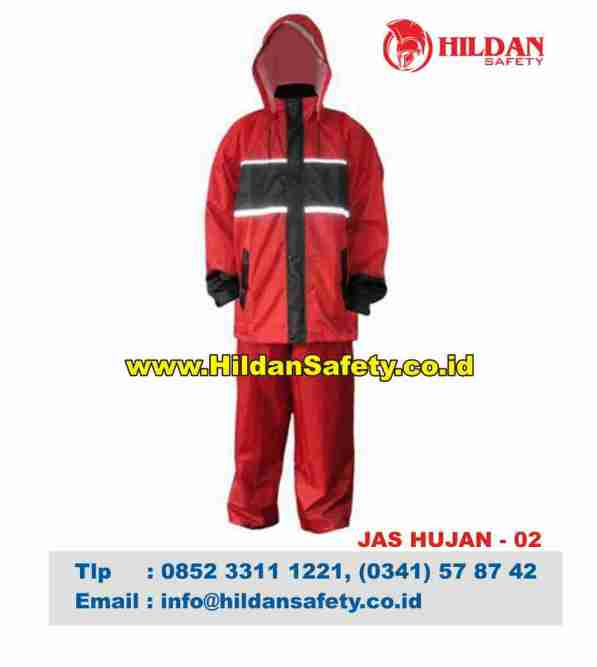 RC.002, Jas Hujan Safety Merah Garis Hitam