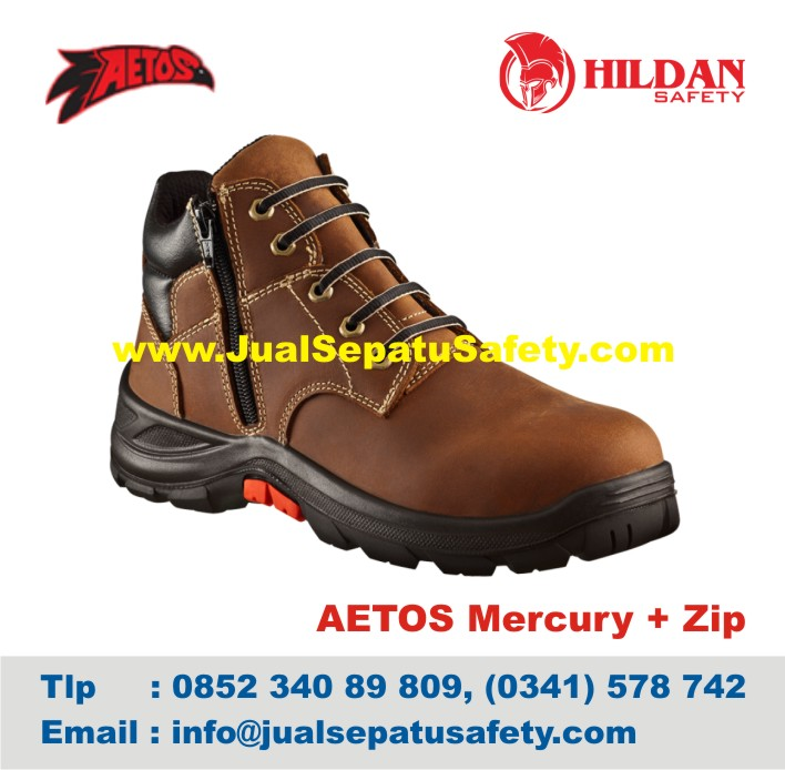 Sepatu Safety Shoes AETOS Mercury Zip 813811 Mocca