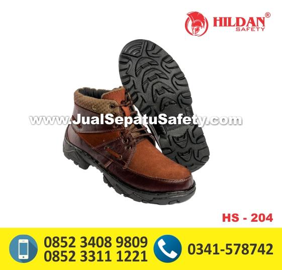 HS204,Sepatu Safety Bertali Warna Cokelat