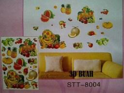 3D Buah stt8004 Wallsticker ecer, grosir untuk dekor kamar, ruang tamu, kamar bayi. 085776500991-bu Eva