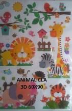 CLA062 ANIMAL 3D Wallsticker kamar anak, grosir untuk dekor kamar, ruang tamu, kamar bayi. 085776500991-bu Eva
