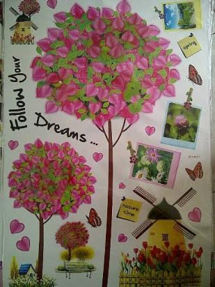 STT8031 Frame Pohon pink Wallsticker ecer, grosir untuk dekor kamar, ruang tamu, kamar bayi. 085776500991-bu Eva
