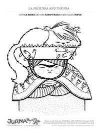 La Princesa and the Pea - Coloring Page