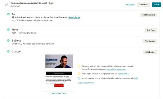 Listos para hacer pruebas con MailChimp y Email Marketing