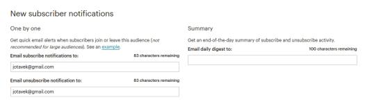 MailChimp configuración de notificaciones a suscriptores