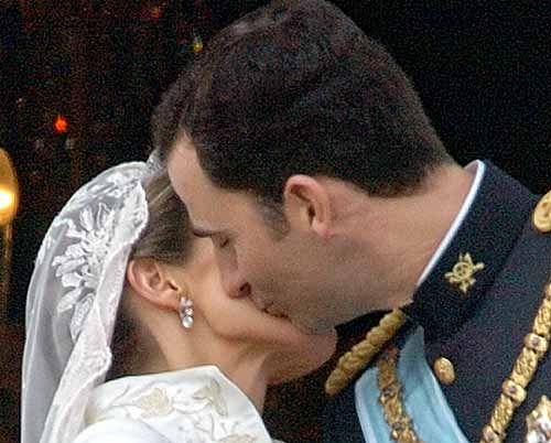 Beso de los Príncipes de Asturias el día de su Boda