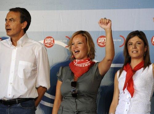 Zapatero, Leyre Pajín y Bibiana Aido