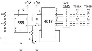 Práctica 3: Circuito probador de cables de red categoría