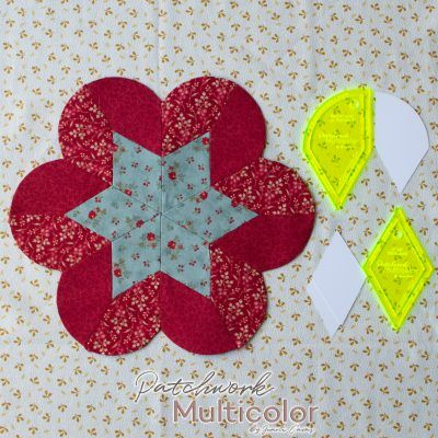 Flor de rombo con semicírculo en English paper piecing