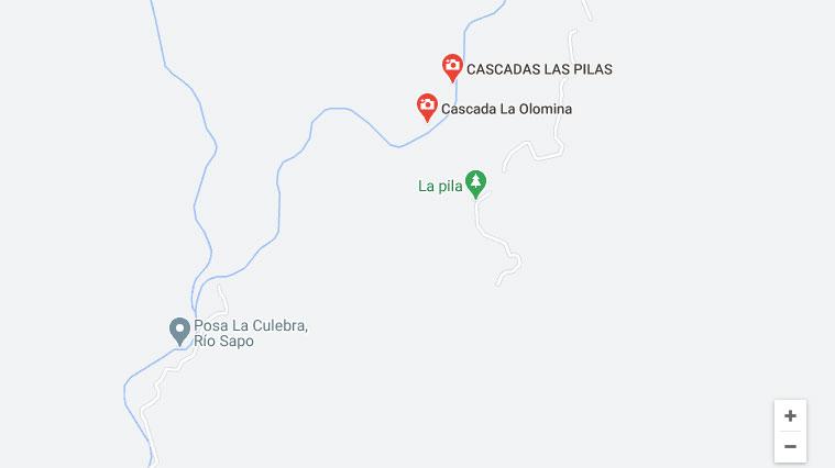 Ubicación delas cascadas de Arambala en Morazán