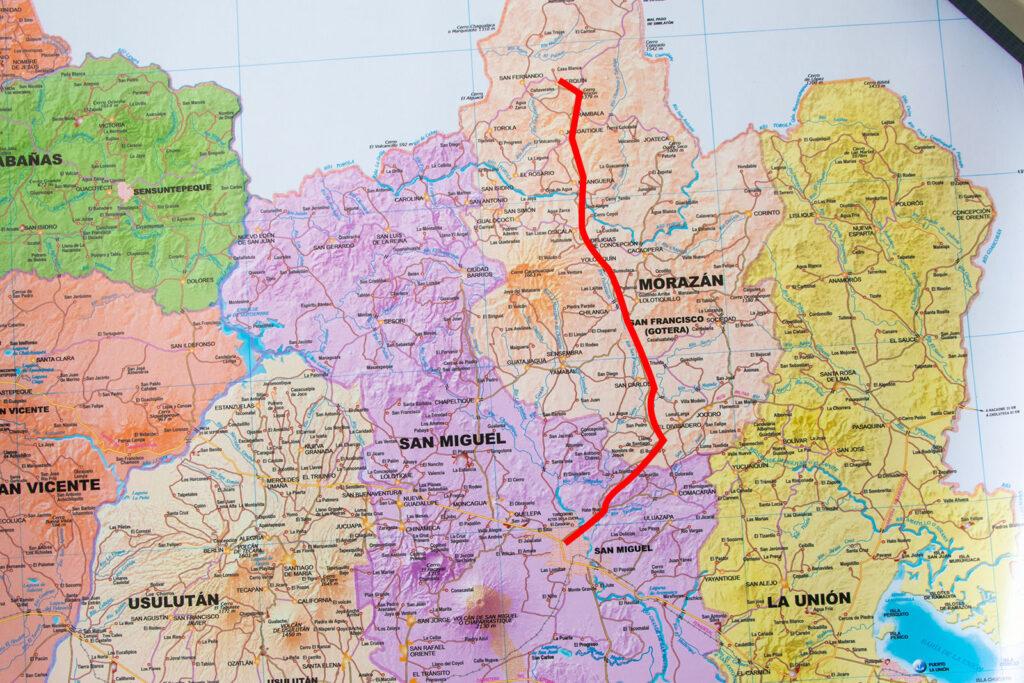 Ruta desde San Miguel hasta Perquín, Morazán