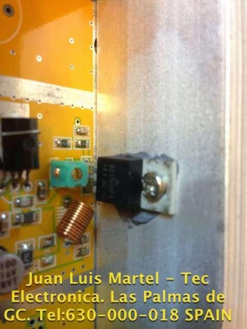 Transistor amplificador Mosfet con bobinas de ajustes