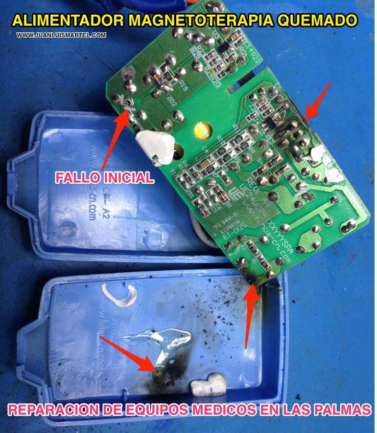 reparación de electromedicina en las palmas , alimentador BIOMAG MONAI quemado
