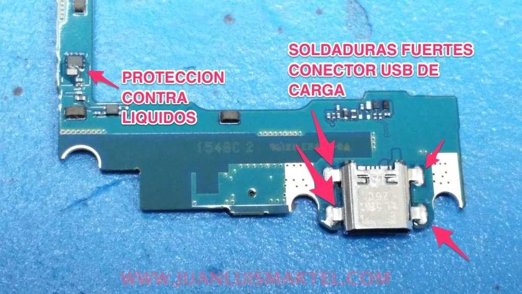 protección contra líquidos en IC, soldaduras conector de carga