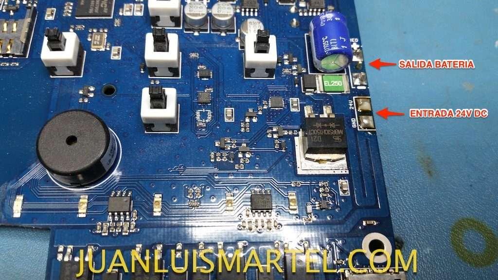 reparación de biomag lumina entrada de corriente y salida hacia la pila