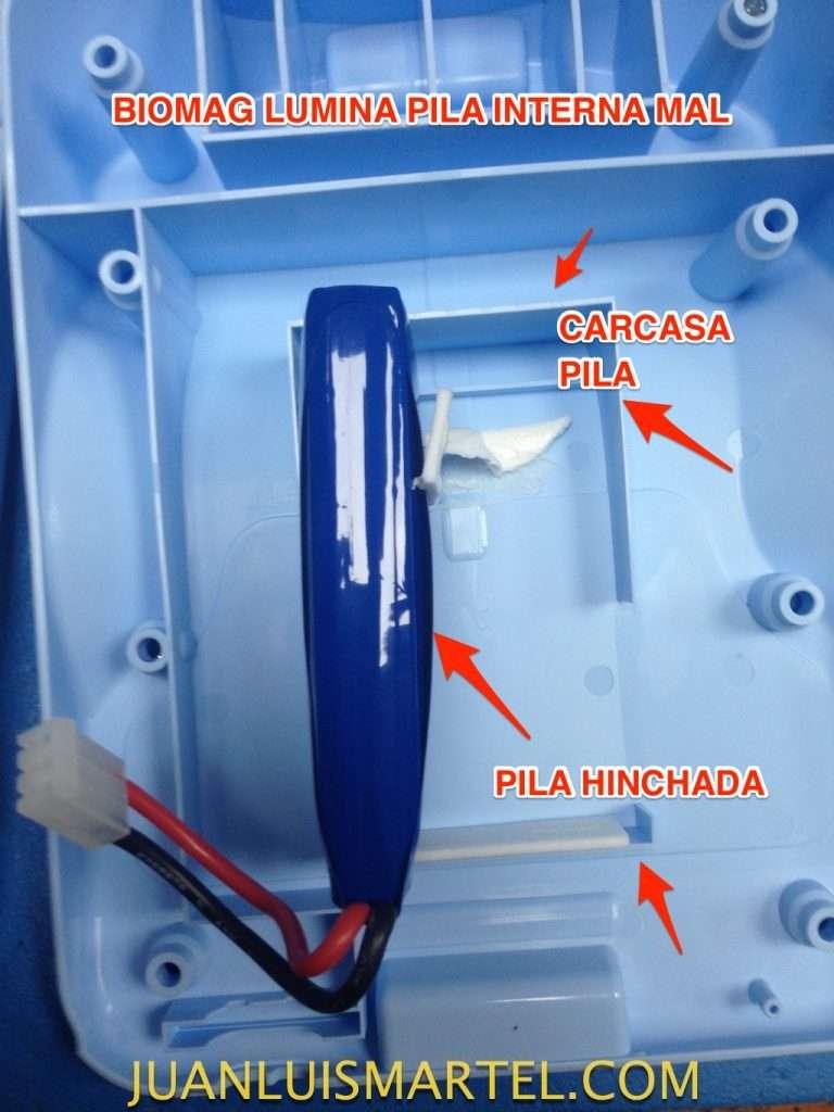 reparación de biomag lumina fallo de pila interna hinchada