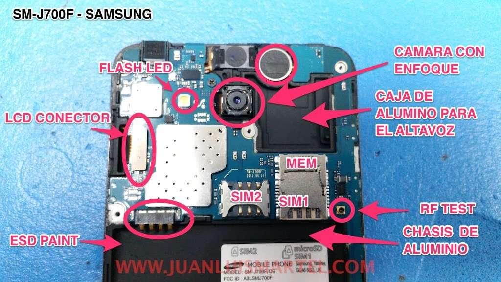Samsung J7 pintura ESD anti estática en el chasis,conector del Lcd, Flash Led, enfoque de camara trasera,conector de test de RF