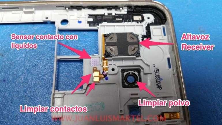 reparar movil mojado en agua salada, sensor detector de agua