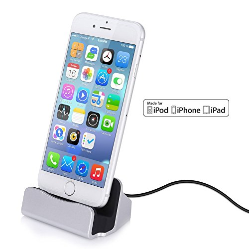 GHB Dock para iPhone Cargador Dock para Apple MFi Certificado por Apple con Cable de Conector Lightning Compatible con iPhone 7 7 Plus 6 6s Plus 5s 5c iPad mini Plata