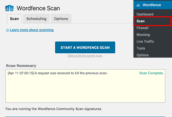 scan con wordfence