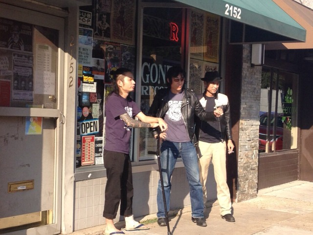 Guitar Wolf hangs at Goner Records just before Gonerfest X.