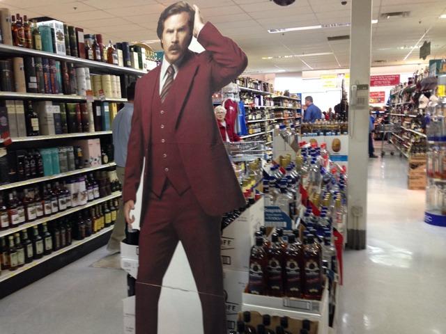 A cardboard display of Ron Burgundy at Liquor Barn in Lexington, Kentucky