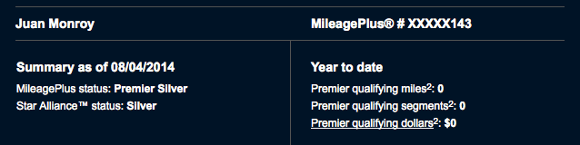 Chart showing that I have flown Zero Premier Qualifying Miles flown and Zero Premier Qualifying Segments flown, with Zero Premier Qualifying Dollars spent in 2014