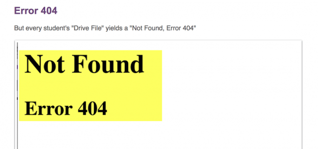 "But following the ""Drive File"" link yields this 404-error page."
