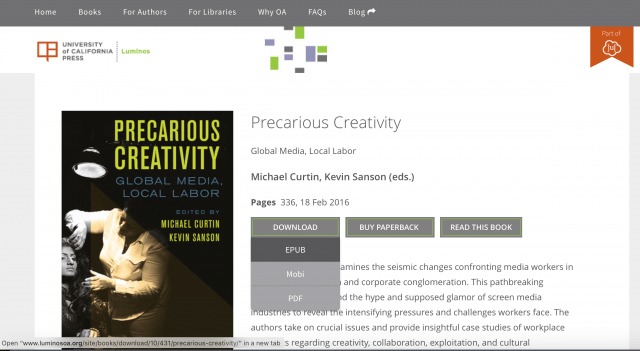 Download Precarious Creativity